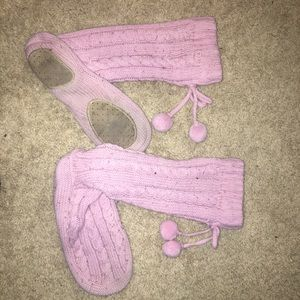 Shoes - Light Pink Sweater Slippers